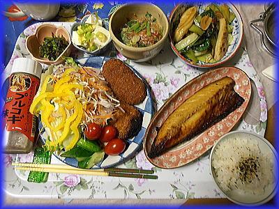 400鯖味醂干しサラダ小松菜炒め.jpg