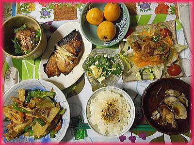 400あさり味噌汁・野菜炒め・鰤照焼・サラダ.jpg